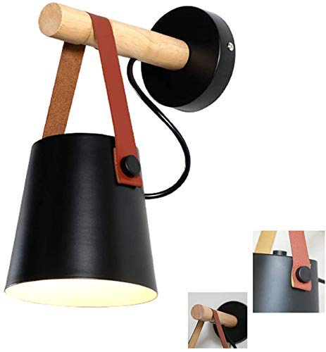 GIOAMH Lámparas para pared Interior Lámpara de pared de cabecera de dormitorio creativo nórdico Simple y moderno Fondo de sala de estar Luz de pared Pasillo Pasillo,Negro