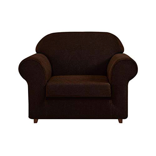 JBNJV High Stretch Sofa Schonbezug 2 Stück, Couchbezug Möbelschutz mit elastischem Boden für 3 Kissen Couch Polyester Spandex Sofabezug für Wohnzimmer-Deep Coffee-1 Sitzer