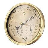 kunse 3 in 1 appeso a parete termometro meteo barometro igrometro decorazioni per la casa 132 mm-oro