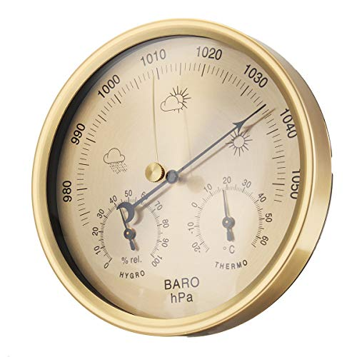 VIDOO 3 in 1 Wall Hanging Weather Thermometer Barometer Hygrometer Home Decor 132Mm-Oro