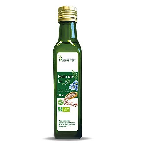 Huile de Lin BIO - Alimentaire - Vierge Extraite à froid - 250 ml - Fabriquée en France - Le Pré Vert