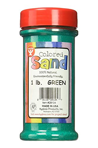 Hygloss Products Colored Play Sand - Assorted Colorful Craft Art Bucket O' Sand, Green, 1 lb