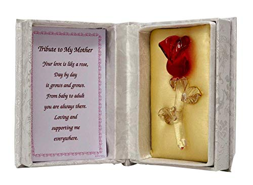 Online Street Glass Red Rose In White Box Tribute to Mother Gift Mum Mummy Mom Birthday Anniversary Christmas Keepsakes Ornaments