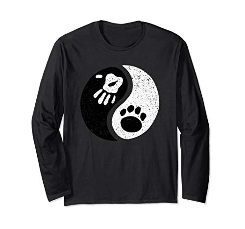 Yin Yang Dog Paw Zen Long Sleeve T-Shirt