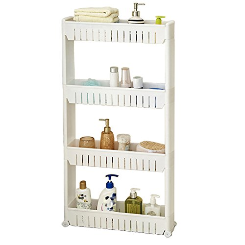 Tosnail 4-Tiers Slim Slide Out Storage Tower - Great for Kitchen, Bathroom Home Organizer
