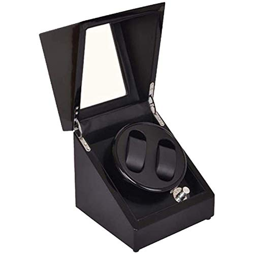 ANZRY Enrollador Automático para 2 Relojes,Enrollador De Reloj Doble Automático Cuadrado Mudo Elegante Reloj Protector A Prueba De Polvo