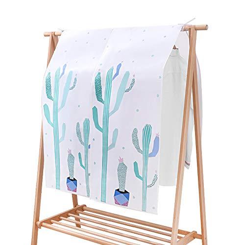 OTraki Copriabiti Antipolvere Semi Trasparenti 110x110 cm Traspirante Copertura Stender Appendiabiti PEVA Lavabile Custodia per Abiti Impermeabile per Armadio con Modello di Cactus