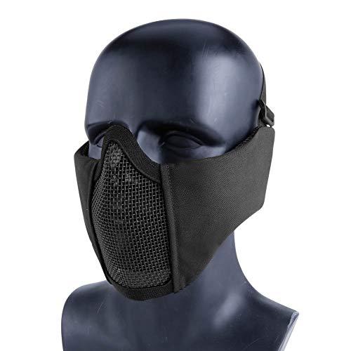 Aoutacc Airsoft Mesh Maske Halbmaske mit Ohrschutz für CS/Jagd/Paintball/Shooting, Schwarz