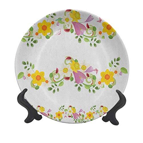 Narciso - Plato decorativo de cerámica para colgar (15,24 cm), diseño de hojas y flores, diseño de hada laurel, madre tierra, hábitat, jardinería, decoración de cerámica para mesa de comedor,