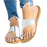 Zapatillas Planas Sandalias Inicio Plata Zapatillas correctivas Chica Zapatos cómodos de Verano for Playa (Size : 41)