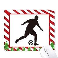 サッカーのスポーツのシルエット ゴムクリスマスキャンディマウスパッド