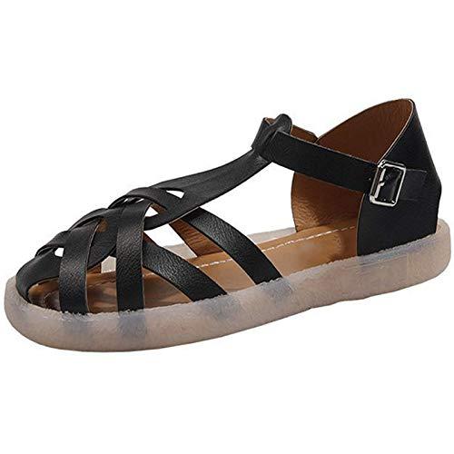 AIJOAIM Sandalias Planas para Mujer, Sandalias cómicas Sandalias de Verano Hueco y Transpirable Punta de Punta Hebilla Zapatos Casuales Peep Toe Sandalias,A,40EU