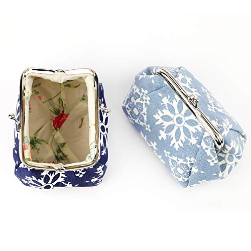 iSuperb Floral Paquetes Monedero 2 Piezas Mujer Retro Bolsa de la Moneda Pequeña Cierre de Corchete Monedero Coin Purse Pouch Bags para Moneda Efectivo Tarjeta Llaves (Azul + Azul Oscuro)