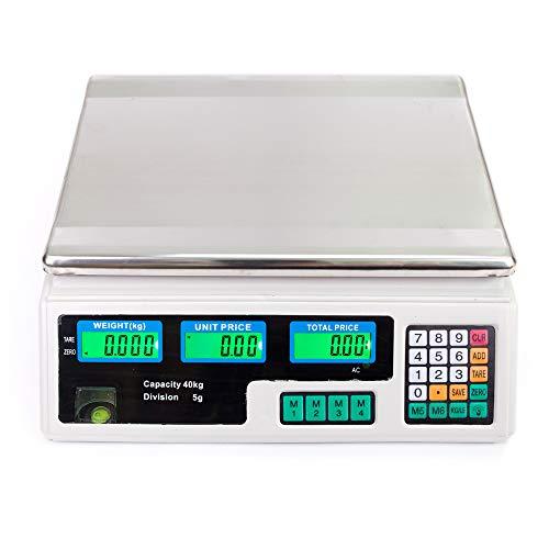 OGlink ACS-30 40kg/5g digitale prijs berekenen schaal voor locaties UK Plug Zilver
