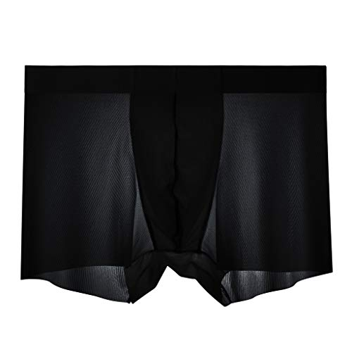 Sommer Herren Sexy Boxer Briefs Fashion Ice Silk Coole Atmungsaktive Hosen Shorts Komfortable Low Waist Panties L-4XL