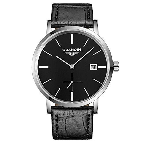 Guanqin - Reloj de pulsera para hombre, analógico, automático, automático, mecánico, con caja de acero inoxidable y correa de piel