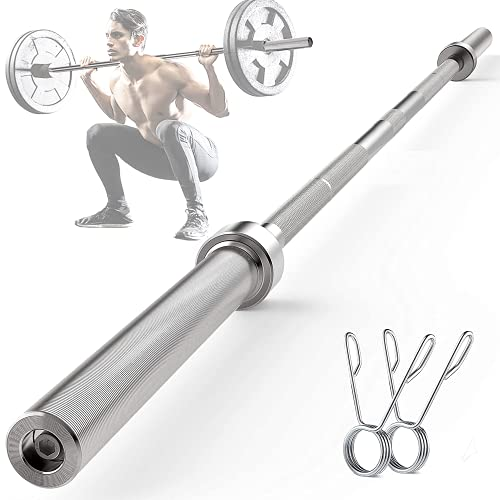 FEIKUQI 7ft Olympic Barbell Bar - 110,000 PSI Standard Weight Bar for Power Lifting & Weightlifting with Ring Collars, Stainless Steel 500LBS Capacity Workout Bar Barbell for Home Gym and Office Cardio Fitness