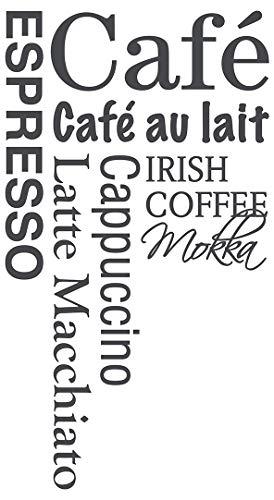 dekodino® Wandtattoo Spruch Küche Kaffee Kaffeesorten Schriftzüge Deko