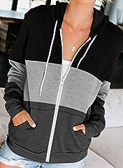 Aleumdr Ladies Long Sleeve Black Colorblock Zip-Up Hoodie Jacket Sweatshirt with Pockets Womens Oversized Baggy Comfy Hooded Coat Tunics UK Size 16 18 #1