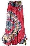 Guru-Shop Wandelbarer Hippierock, Batik Rock, Maxirock, Hippie Kleid, Damen, Rot, Synthetisch, Size:38, Röcke/Lang Alternative Bekleidung