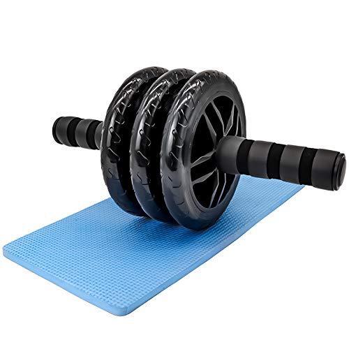 Qsnn Bauchtrainer AB Roller 3 Räder Bauchroller Set mit Matte, AB Wheel Bauchroller Fitness Geräte zu Home Gym, AB-Roller Bauchmuskeltrainer für Männer und Frauen Bauchmuskeltraining - Schwarz