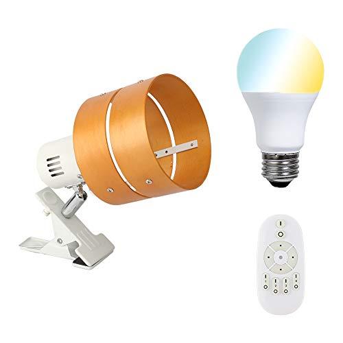 共同照明 クリップライト 調光調色LED電球40W形付き リモコン対応 GT-SETTD-MQJZ-W-6WT2-Y ナチュラル E26 電気スタンド クリップ 間接照明 スイッチ付き 2環ウッドシェード おしゃれ コンセント式 インテリア照明 作業ライト