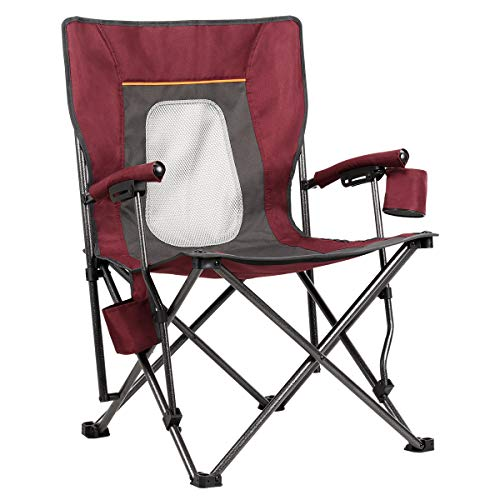 PORTAL Case of 500 Packs, Mesh Back Mountaineering Leisure Camping Quad Folding Chair with Cup Holder and Pouch Red
