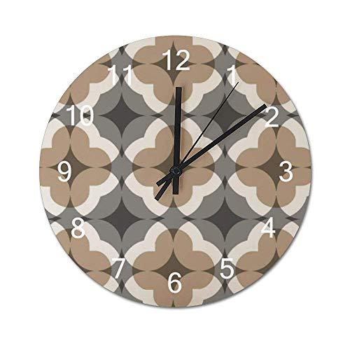 Reloj de pared de madera redondo rústico silencioso sin tictac de 10 pulgadas, diseño marrón beige, azulejo, simetría, suelo, decoración de pared de granja vintage para el hogar, la oficina, la escuel