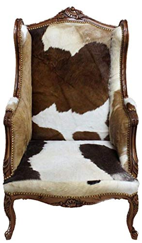 Casa Padrino Barock Lounge Thron Sessel Kuhfell Mod3 - Ohren Sessel - Ohrensessel Tron Stuhl