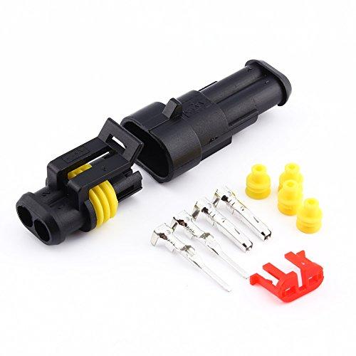 Connecteur de Fil, Keenso Kit de 2 Broches Plug Connecteur Étanche Électrique 1.5mm Terminaux Fil de Verrouillage Rapide Prises de Courant pour Moto Voiture Camion