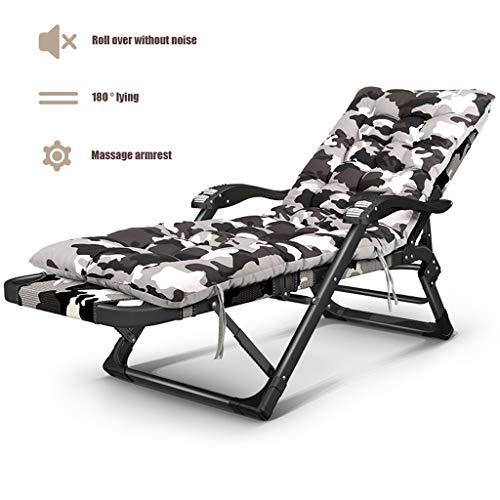 WLNKJ Sillón de jardín, sillón Plegable de Camuflaje Sillón de Gravedad Cero con Almohadilla de algodón Grueso para la Oficina de Playa al Aire Libre Junto a la Piscina,A