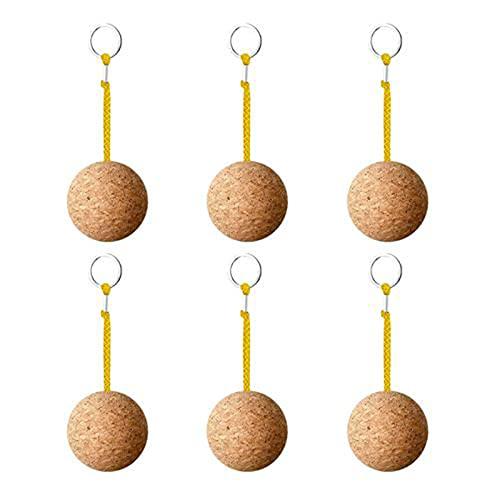 Llavero creativo colgante 6 piezas bola de madera flotante corcho llavero deportes acuáticos accesorios para natación buceo pesca