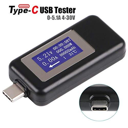 Innovateking-EU Misuratore di voltmetro per Tester di Tipo C USB Tester di Tensione e Corrente del multimetro USB 0-5.1A 4-30V Rilevatore di Corrente di Tensione di capacità del Display Tester