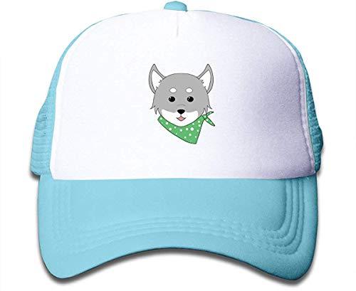 Cute Dog Scarf Sun Mesh Back Caps Trucker Sombrero de béisbol para niñas Ajustable Sky Blue cosy10567