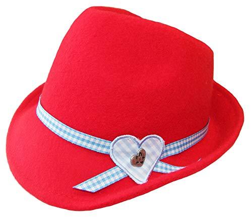 Kinder Trachtenhut Herz für Mädchen Rot Gr. 55 - Schöner Filzhut aus Wolle für Junge Madls zum Dirndl aufs Oktoberfest