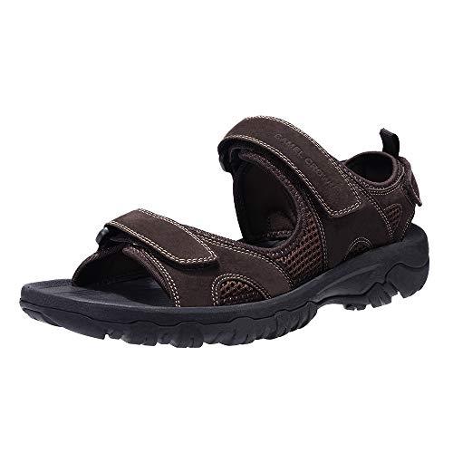 CAMEL CROWN Sandali Uomo Pelle Estivi Sandali Uomo Sportivi Sandali Calzature Uomo Pantofole Pelle Ciabatte Scarpe Mare Sandali Cuoio Uomo Infradito per Spiaggia, Piscina, Viaggio