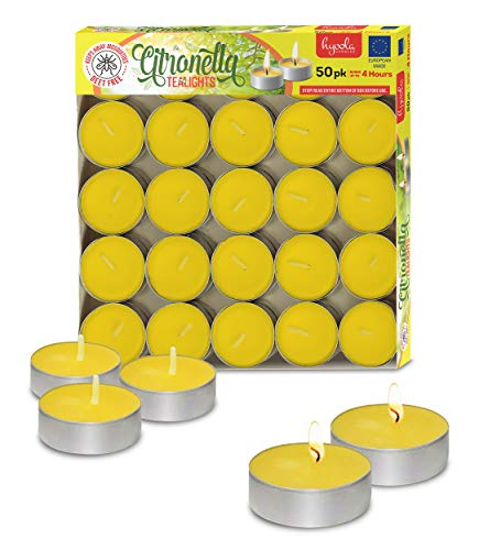 Hyoola Tealight Citronella Candles - Anti Mosquito Candle - 4 Hour Burn - 50 Pack - DEET Free