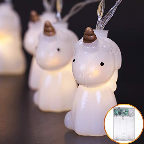 Feeënlichtketting, werkt op batterijen, licht, decoratie met ster, decoratie in de vorm van een eenhoorn, altijd glanzend, warmwit, 40 lichtjes 5 meter