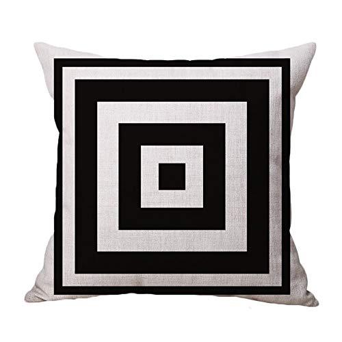 JoyRolly Kissenbezug - Schwarz Weiß Geometrie Muster Baumwoll-Leinen-Mischung Quadrat Kissenbezug Kissen Dekorative Flachs Sofa Kissenbezug Wohnkultur