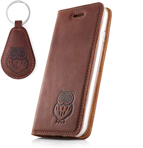SURAZO Handy Hülle Für Huawei Mate 10 Pro - Eule - RFID Smart Magnet Nubuk Nussbraun - Glattleder Premium - Vintage Wallet Hülle