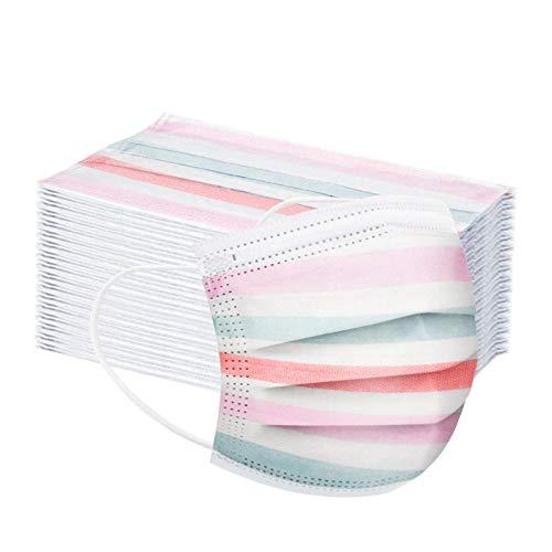 Damonday Protección 3 Capas Transpirables con Elástico para Los Oídos Pack 10/20/30/50 unidades Adulto,Estampado de Rayas Arcoíris 20200815B (C 20PCS)