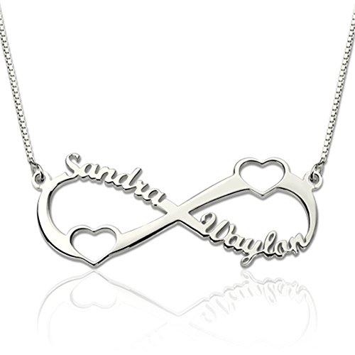 zhaolian888 Namenskette Silber für Mütter Unendlich 2 Hohle Herz Anhänger - Personalisiert mit Beliebigen Namen