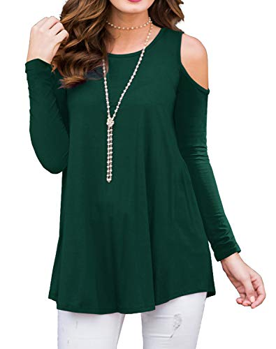 PrinStory Women's Long Sleeve Casual Cold Shoulder Tunic Tops Loose Blouse...