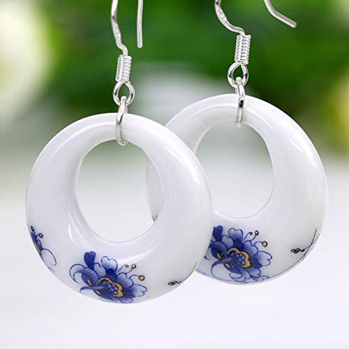 LIEQUAN Pendientes Azules y Blancos, Anillo Redondo de joyería de cerámica.