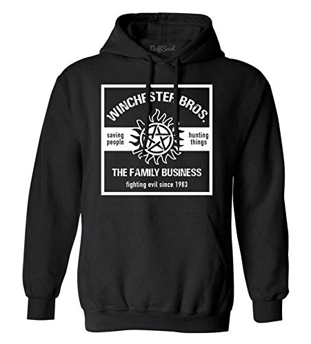 NuffSaid Winchester Brothers Hooded Pullover Sweatshirt - Unisex Hoodie (XLarge, Black - White Ink)