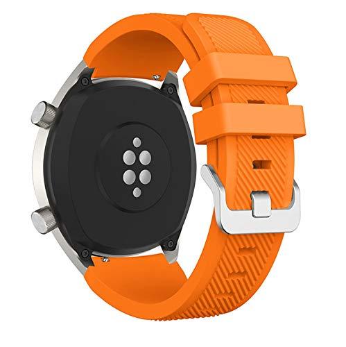 DXFFOK Banda de Reloj de Silicona de 22 mm para Huawei para Honor Magic Watch 2 Sport Reemplazo de Relojes para Huami Ambashit Stratos 3 Correa (Band Color : Orange, Band Width : 22mm)