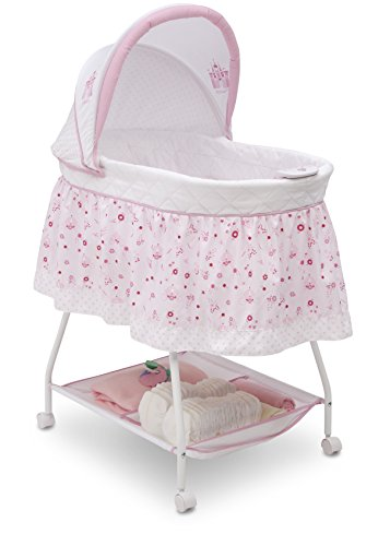 Disney Baby Ultimate Sweet Beginnings Bedside Bassinet - Portable Crib with Lights, Sounds and Vibrations, Disney Princess