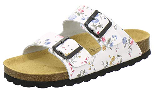 AFS-Schuhe 2100, Bequeme Damen Pantoletten echt Leder, praktische Arbeitsschuhe, Hausschuhe, Handmade in Germany (41 EU, Weiss/Flower)