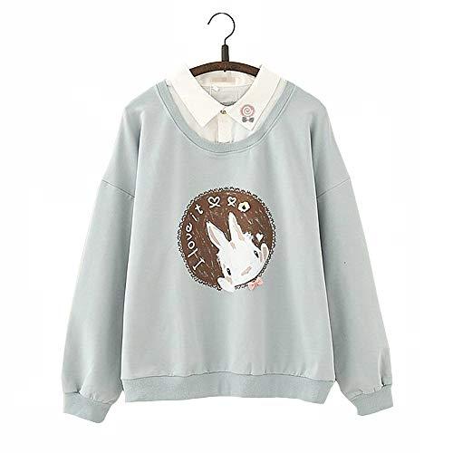 Ulzzang Niña Adolescente Sencillo Todo Blanco Linda Conejito Conejo Impresión Diseño Kawaii Pequeña Collar Detalle Cálido Cómodo Mangas largas Capucha