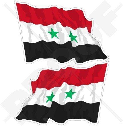 SYRIEN Syrisch Arabische Republik Wehende Flagge, Fahne ARABISCH 75mm Auto & Motorrad Aufkleber, x2 Vinyl Stickers (Links - Rechts)